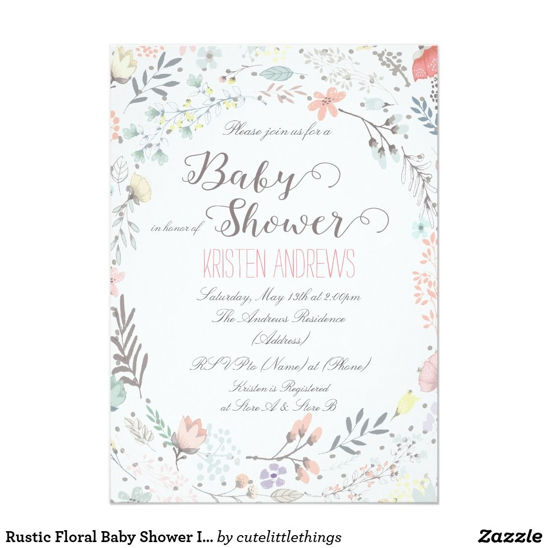 Rustic Floral Baby Shower Invitation II | Shower invitations and Babies