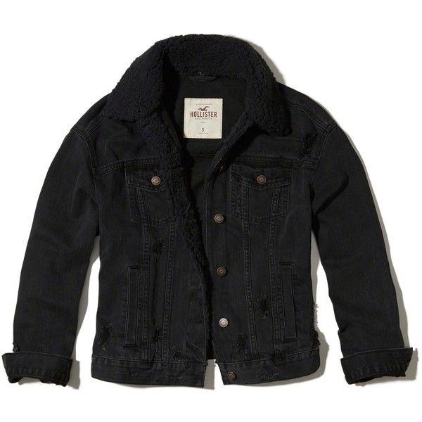 Hollister Sherpa Lined Oversized Denim Jacket (130 BRL