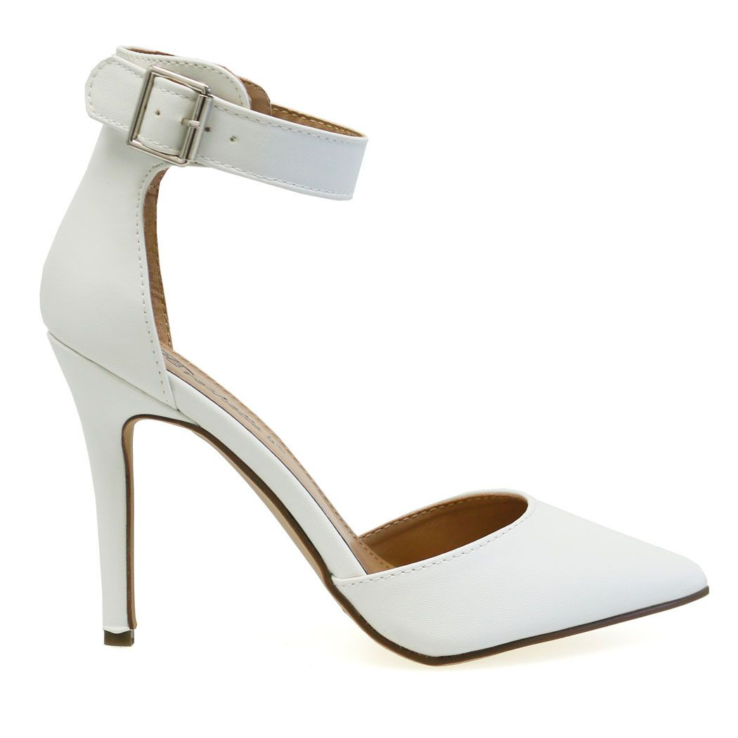Isabel-31 White Pointed Toe Buckle