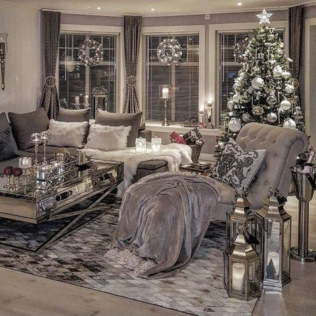 Gray Christmas Ideas The Chair Pillows And Lanterns Silver Living Room Christmas Living Rooms Cozy Living Rooms