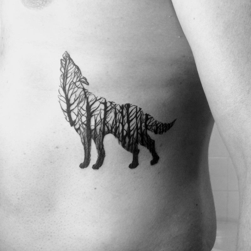 Lobo Sobre Bosque Nature Tattoos Nature Tattoo Sleeve Simple Wolf Tattoo