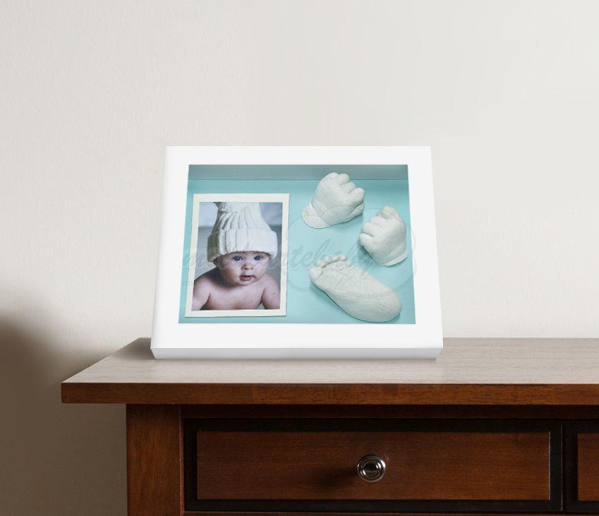 Kit para hacer las Huellas de Bebé en 3D, este marco color blanco ...