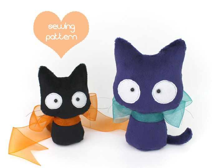 PDF sewing pattern - Scaredy Cat stuffed animal 2 sizes plush - easy ...