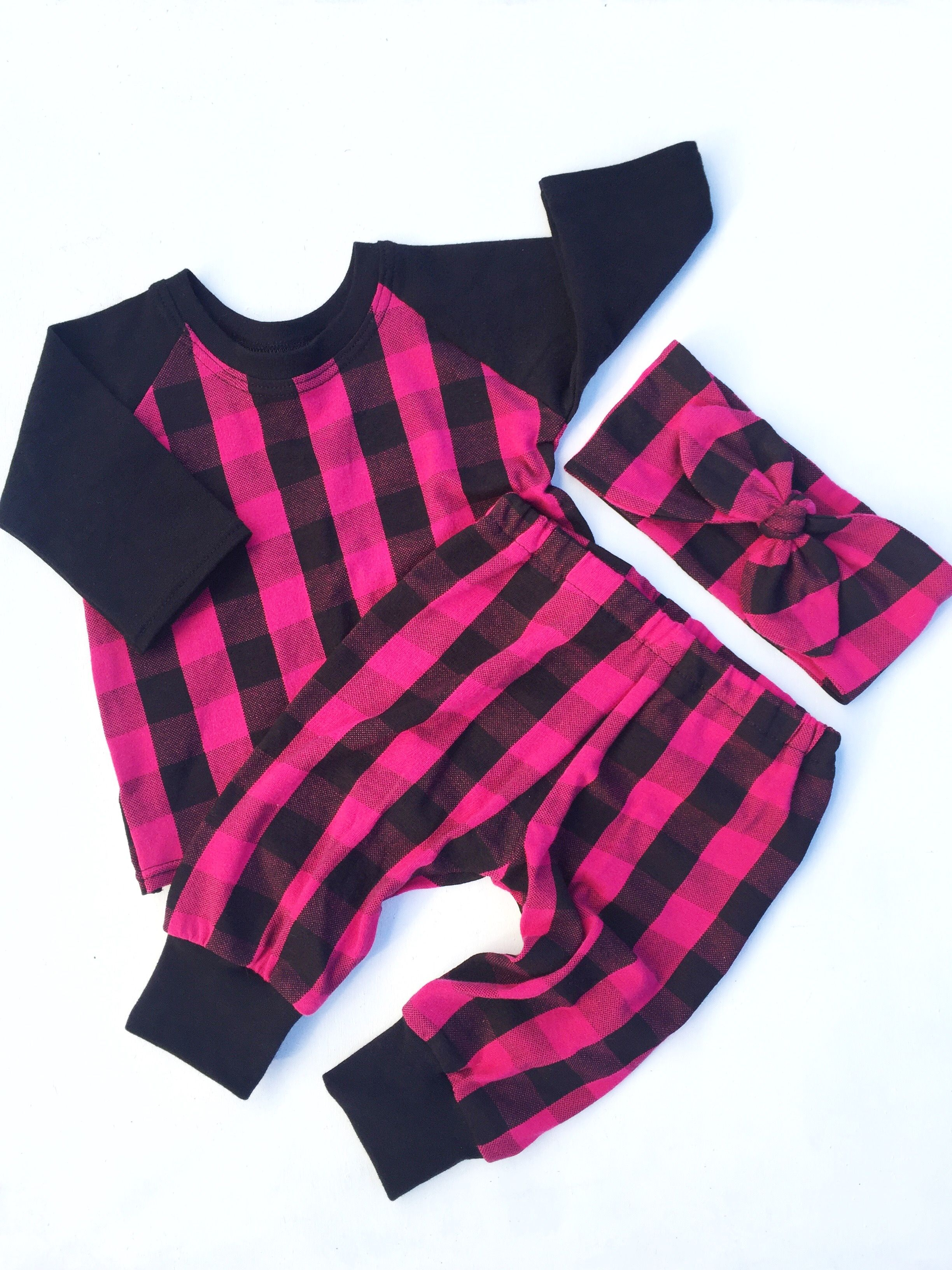 Fuchsia pink raglan outfit hospital outfit cute baby clothes toddler