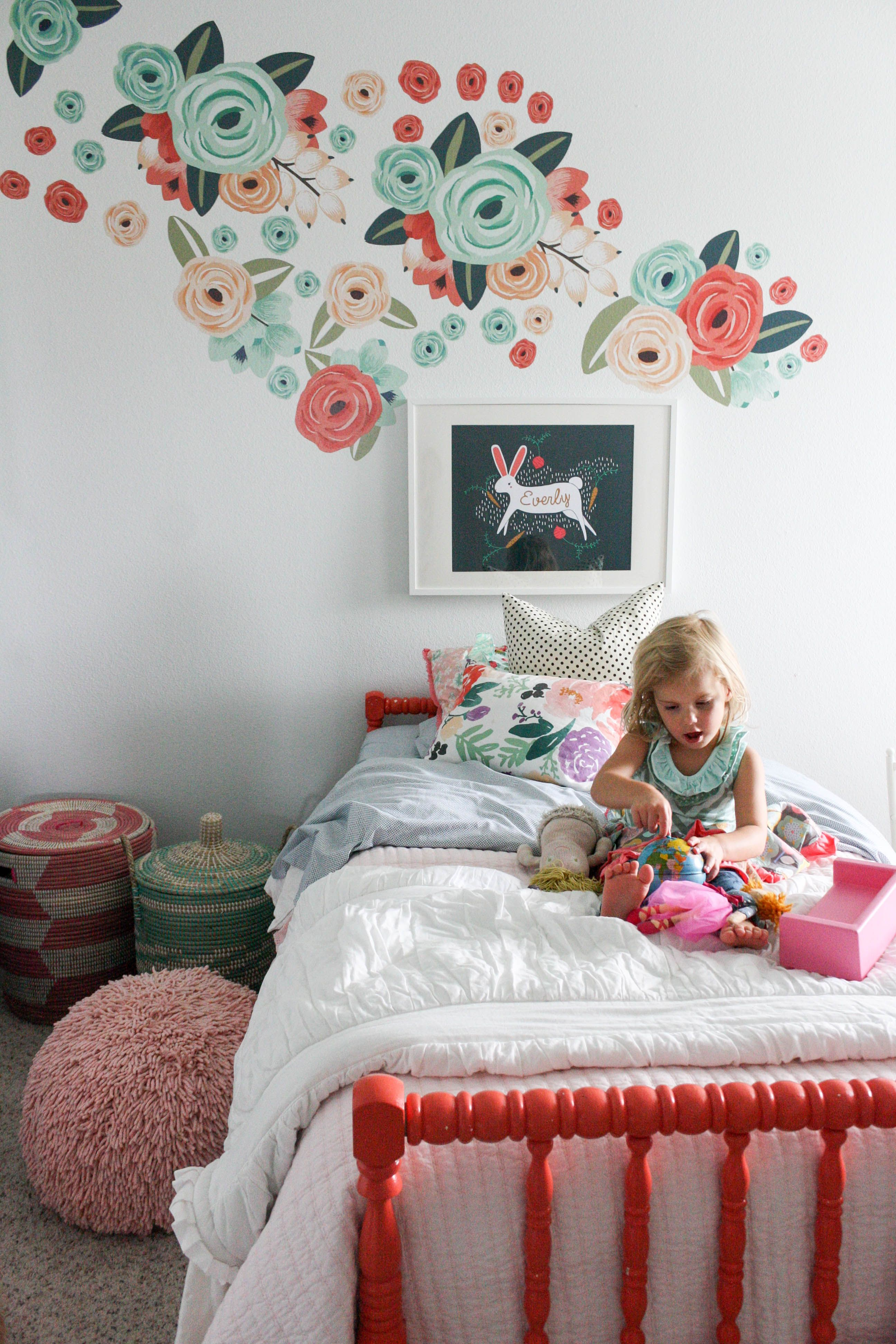Urbanwalls decals for miss everlys roomwho says a temporary urban walls decals in a big girl room that has fresh white walls and bedding and the perfect pops of coral peach and teal amipublicfo Image collections