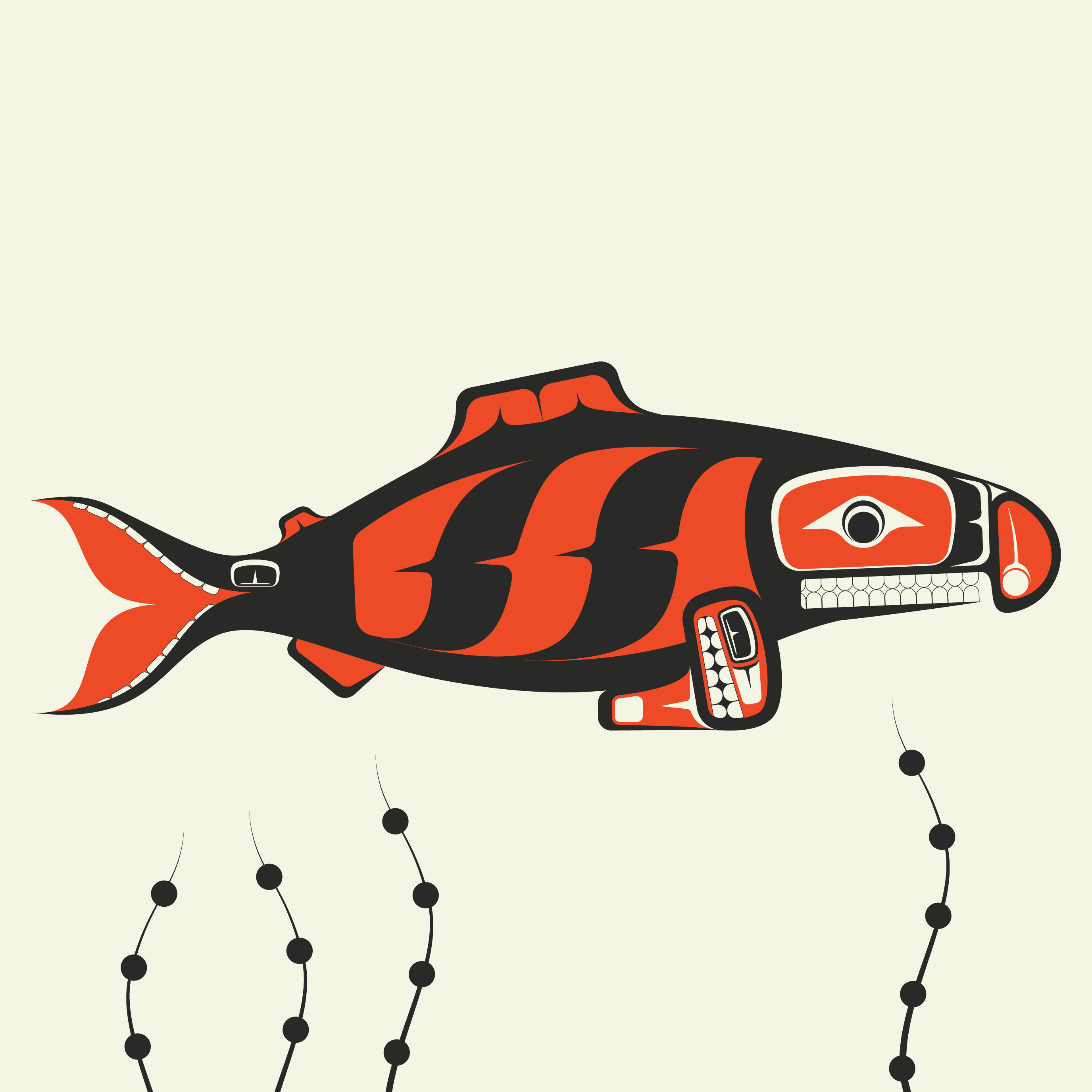 The Fish five by Brian W. a Shawnee Native American that grew up in the PNW and it's culture.