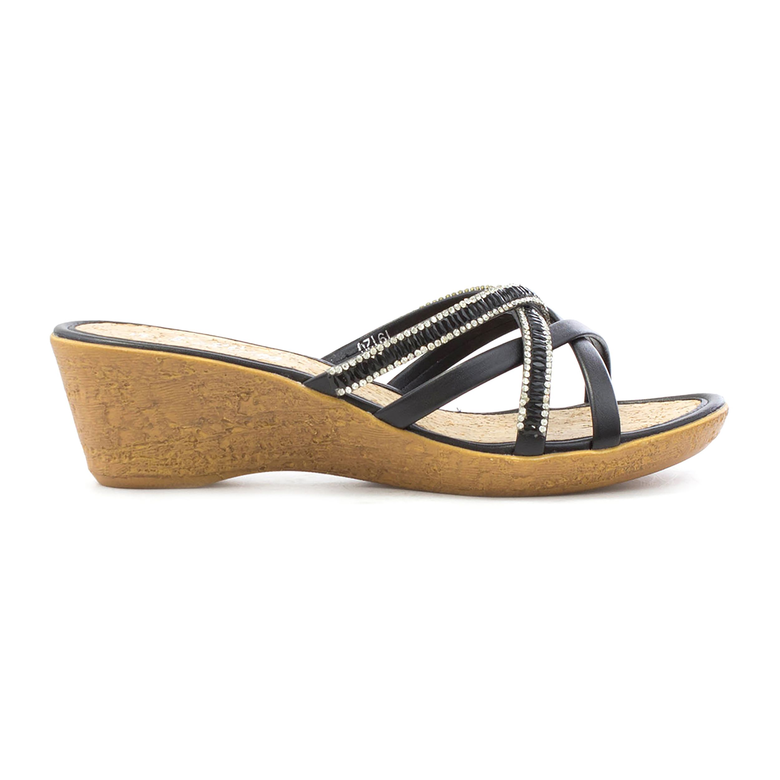 2947d005c8 Lilley Womens Black Strappy Wedge Mule Sandal | SHOE ZONE | SS18 ...