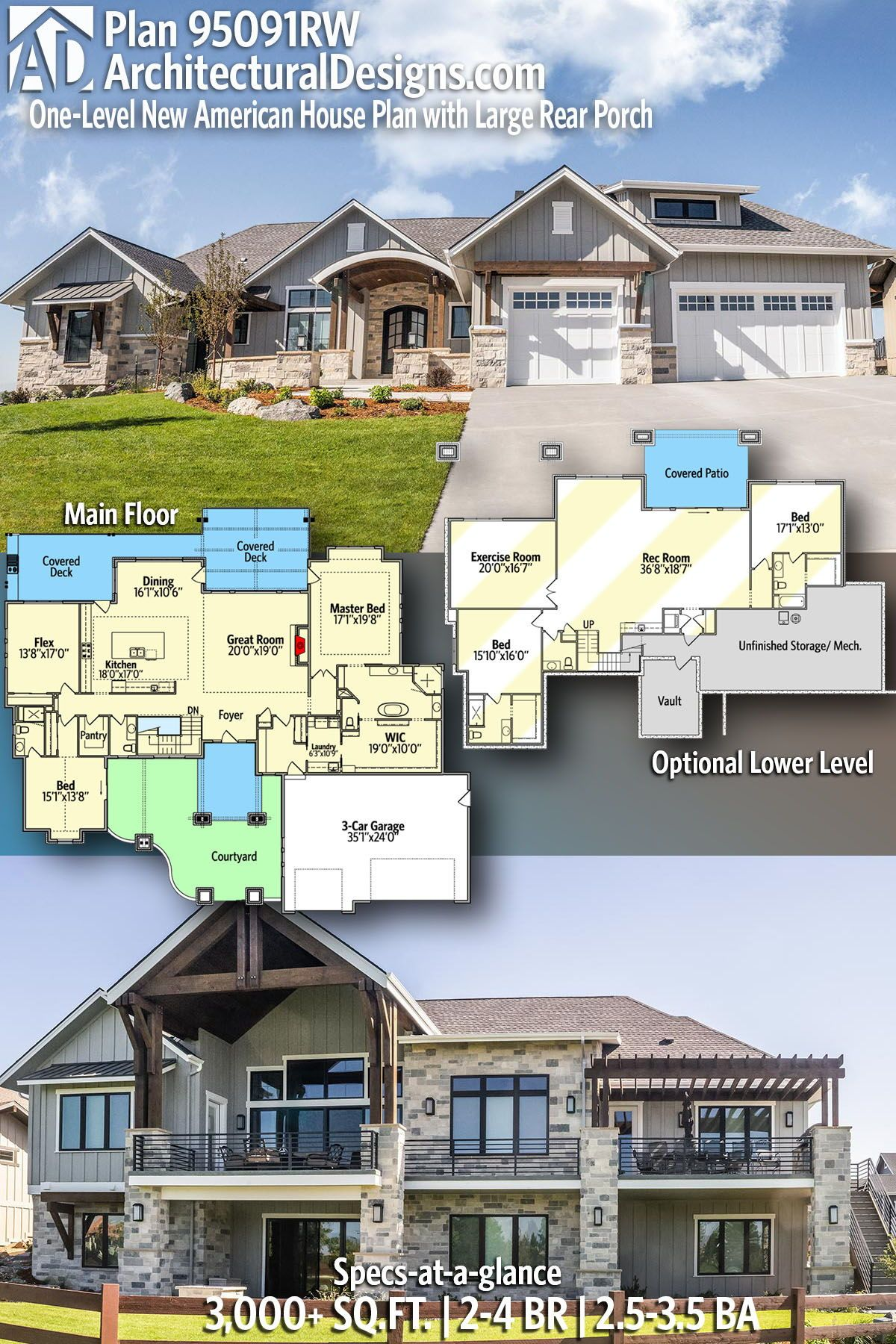 Plan 95091rw One Level New American House Plan With Large Rear Porch American Houses Craftsman House Plans House Plans