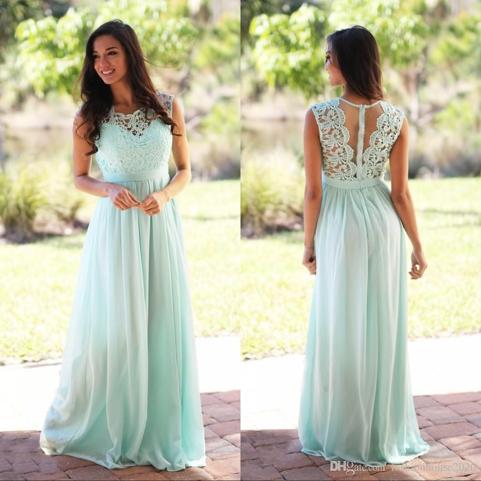 Sexy long blue chiffon bridesmaid dress cap sleeve sheer lace