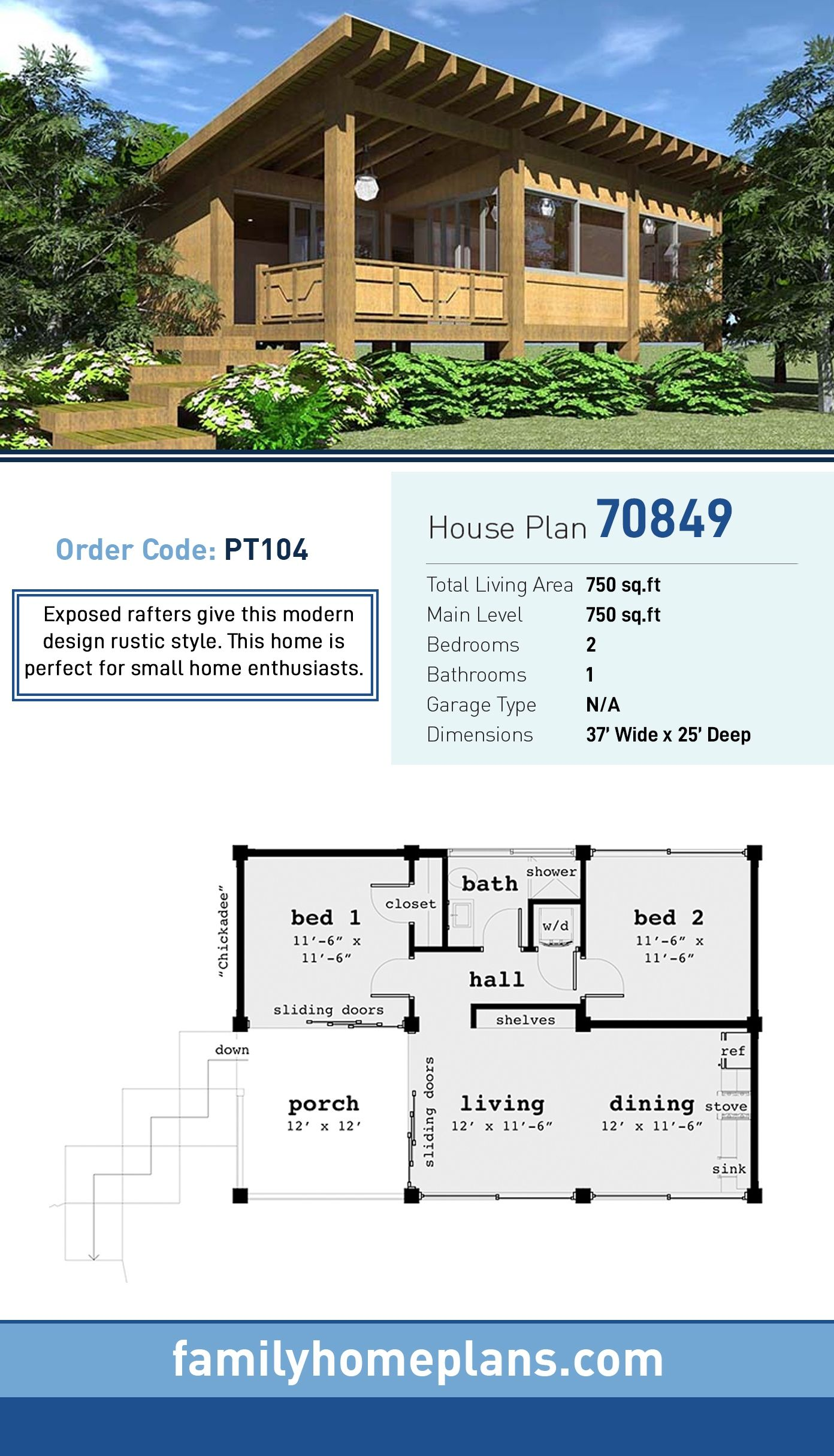 Ranch Style House Plan 70849 With 2 Bed 1 Bath Ranch Style House Plans House Plans Modern House Plans