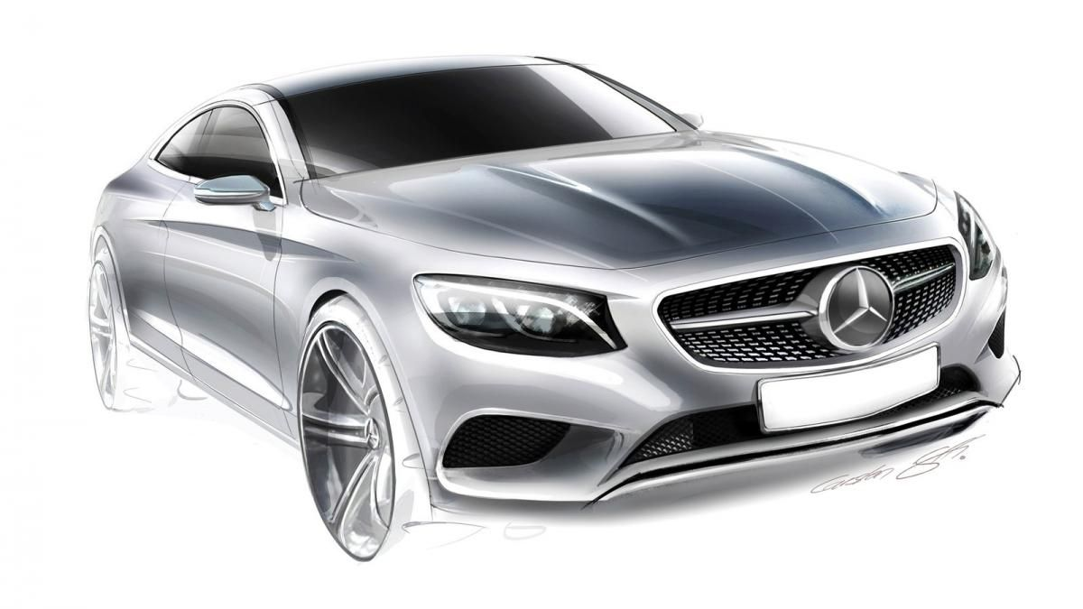 2015 mercedes s class coupe design sketch car sketch. Black Bedroom Furniture Sets. Home Design Ideas
