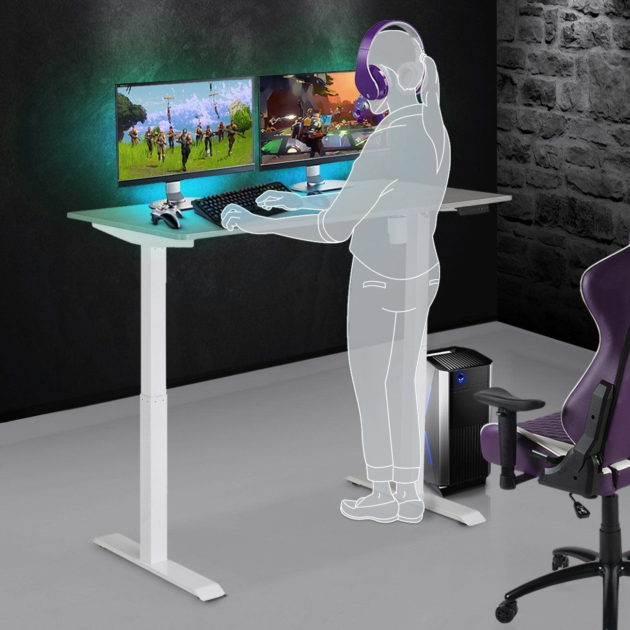 Gaming Desk Aria in 2020 Sit to stand, Desk, Gaming desk