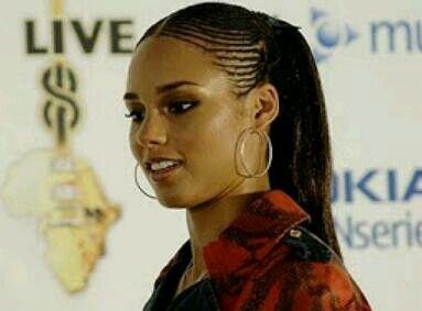 Alicia Keys Half Cornrows Hairstyle