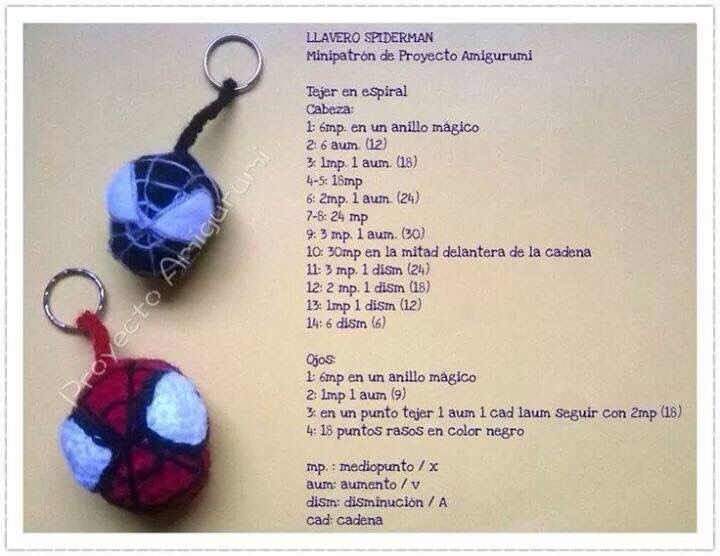Hombre araña llavero | Manualidades | Pinterest | Crochet, Amigurumi ...