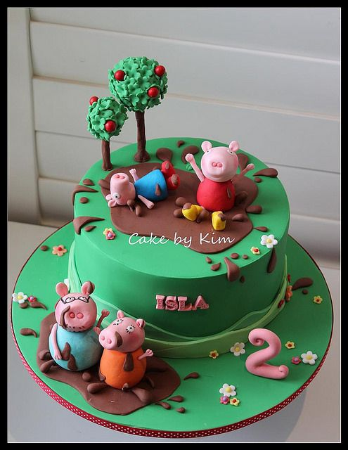 Peppa Pig Cake With Images Pig Birthday Cakes