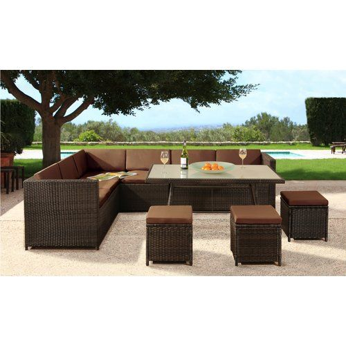 Sol 72 Outdoor Lizette 9 Seater Rattan Corner Sofa Set With Cover Corner Sofa Set Rattan Corner Sofa Sofa Set