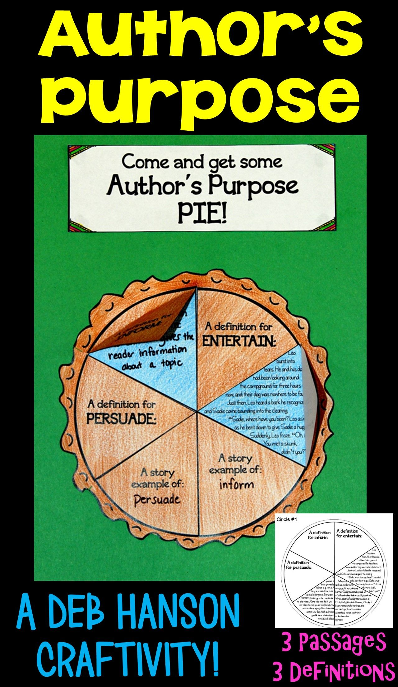 Author S Purpose Craftivity 2nd And 3rd Grade