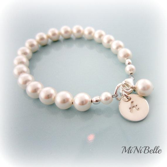 Baby Pearl Bracelet Personalized Baby Pearl Bracelet Baptism