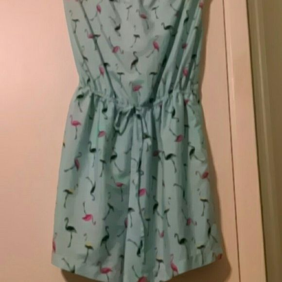 Blue flamingo romper Blue romper with pink yellow and green flamingos. Only worn a few times. Great condition. Delia's Other