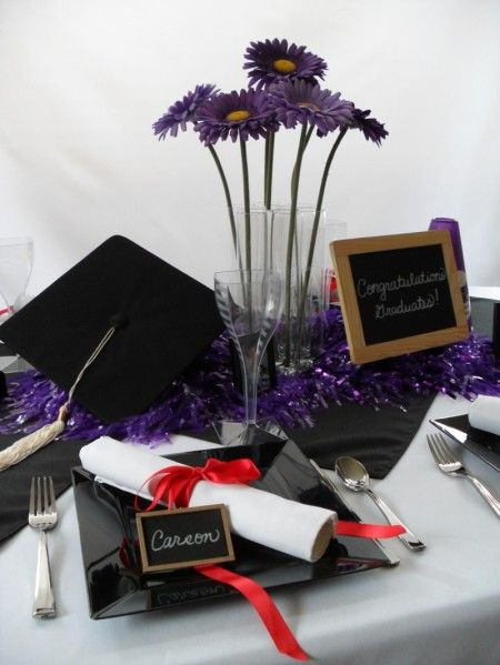 chic graduation party table setting we love the napkin scroll concept in this place setting graduation party foodsgraduation party centerpiecesgraduation