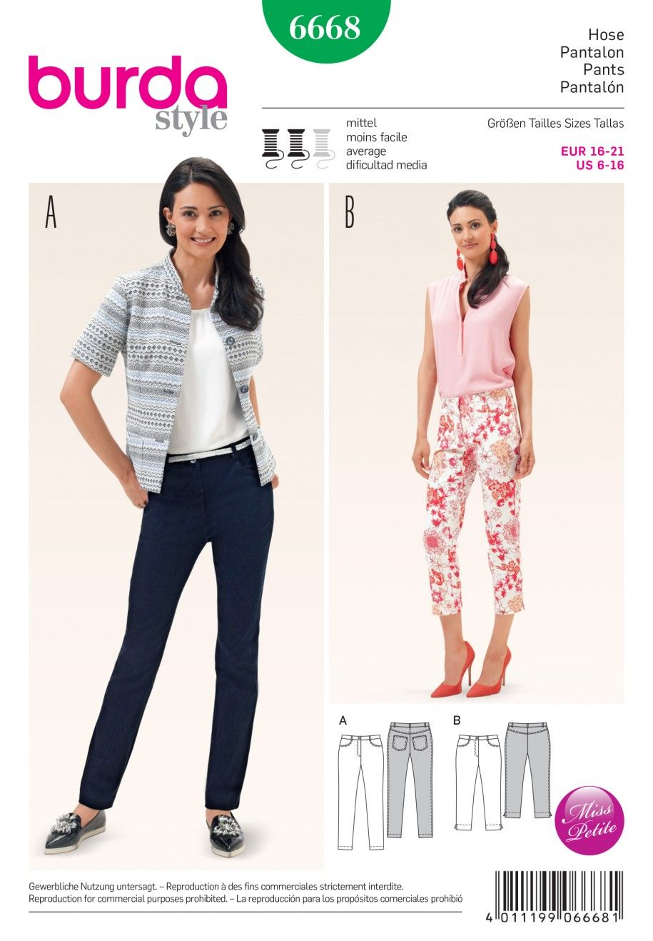 Patrons Couture Sewing Trousers Patterns Patron B6668 All ASOqBf