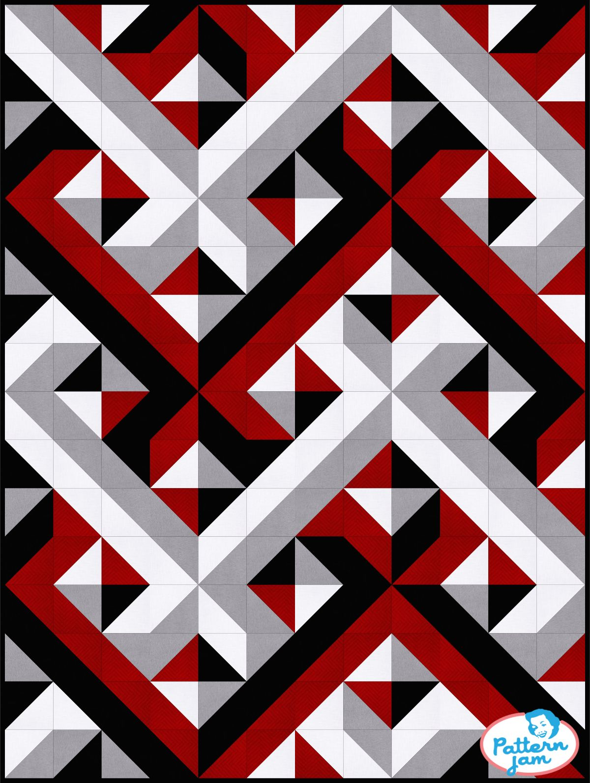 Red And Black Quilt Patterns : black, quilt, patterns, Black, Interwoven, Geometric, Quilt,, Custom, Quilts,, Optical, Illusion, Quilts