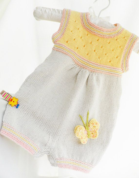 Sale - Knitted cotton baby romper, beige and yellow baby romper ...