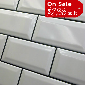 Beveled Subway TIle - 3x6 White Sale $2.49 Per Square Foot ...