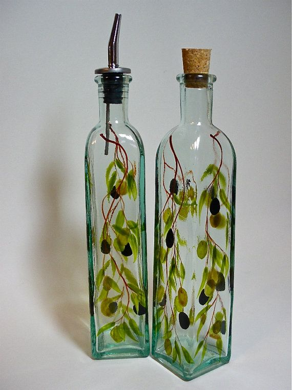 Olive oil bottle hand painted with muted olives olive for Hand painted bottles