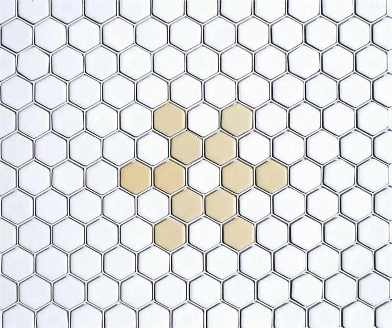 Snowflake Hexagon Tile Pattern In White Light Yellow Matte Made To Order In Texas And Available In Custo Tile Patterns Porcelain Mosaic Hexagon Mosaic Tile