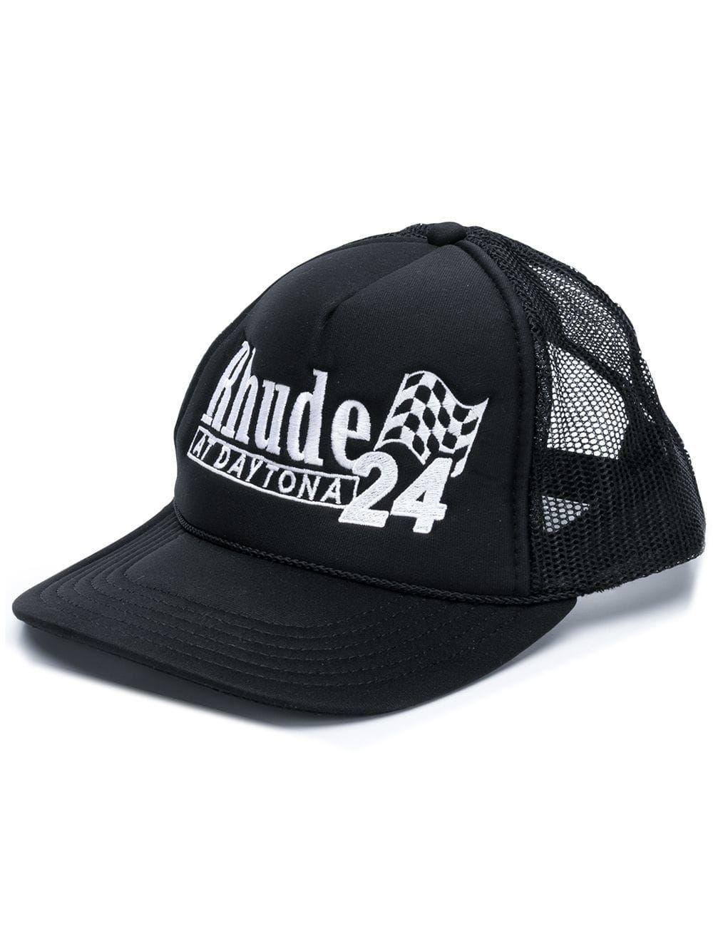 RHUDE RHUDE LOGO EMBROIDERED CAP - BLACK.  rhude  5de1d7653e1c