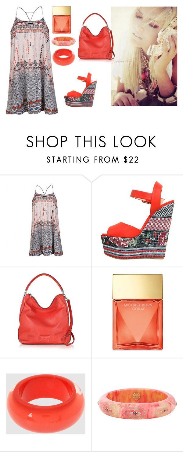 """""""Coral.....:)"""" by lalynany ❤ liked on Polyvore featuring Ally Fashion, Giuseppe Zanotti, Marc by Marc Jacobs, Michael Kors, NUR and Mark Davis"""