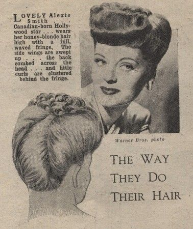 1940s ladies hairstyles | Hair was typically side parted with soft curls, in victory rolls or in ...