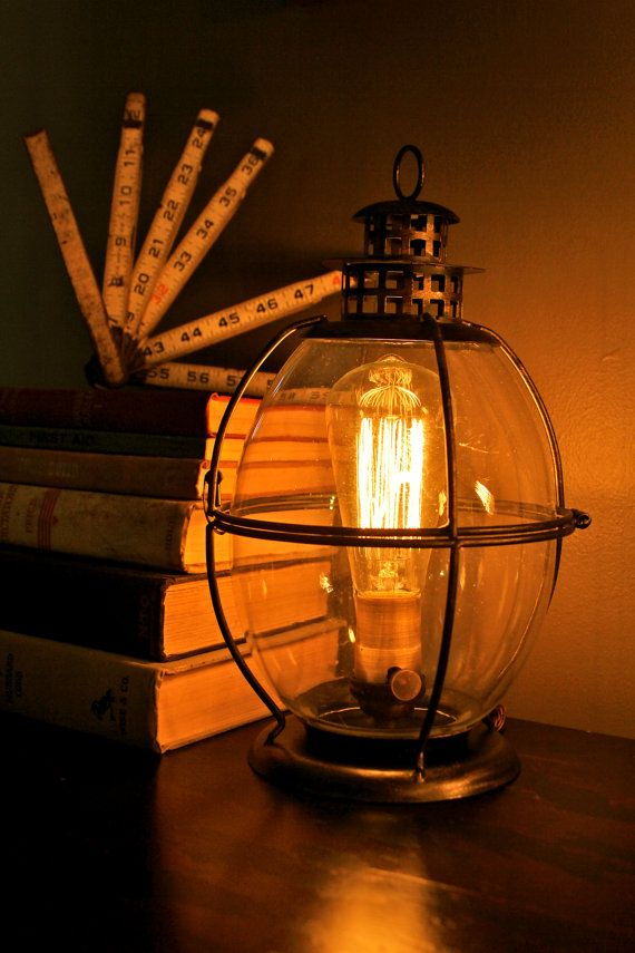Edison Lamp, Vintage lantern table lamp, rustic industrial ...