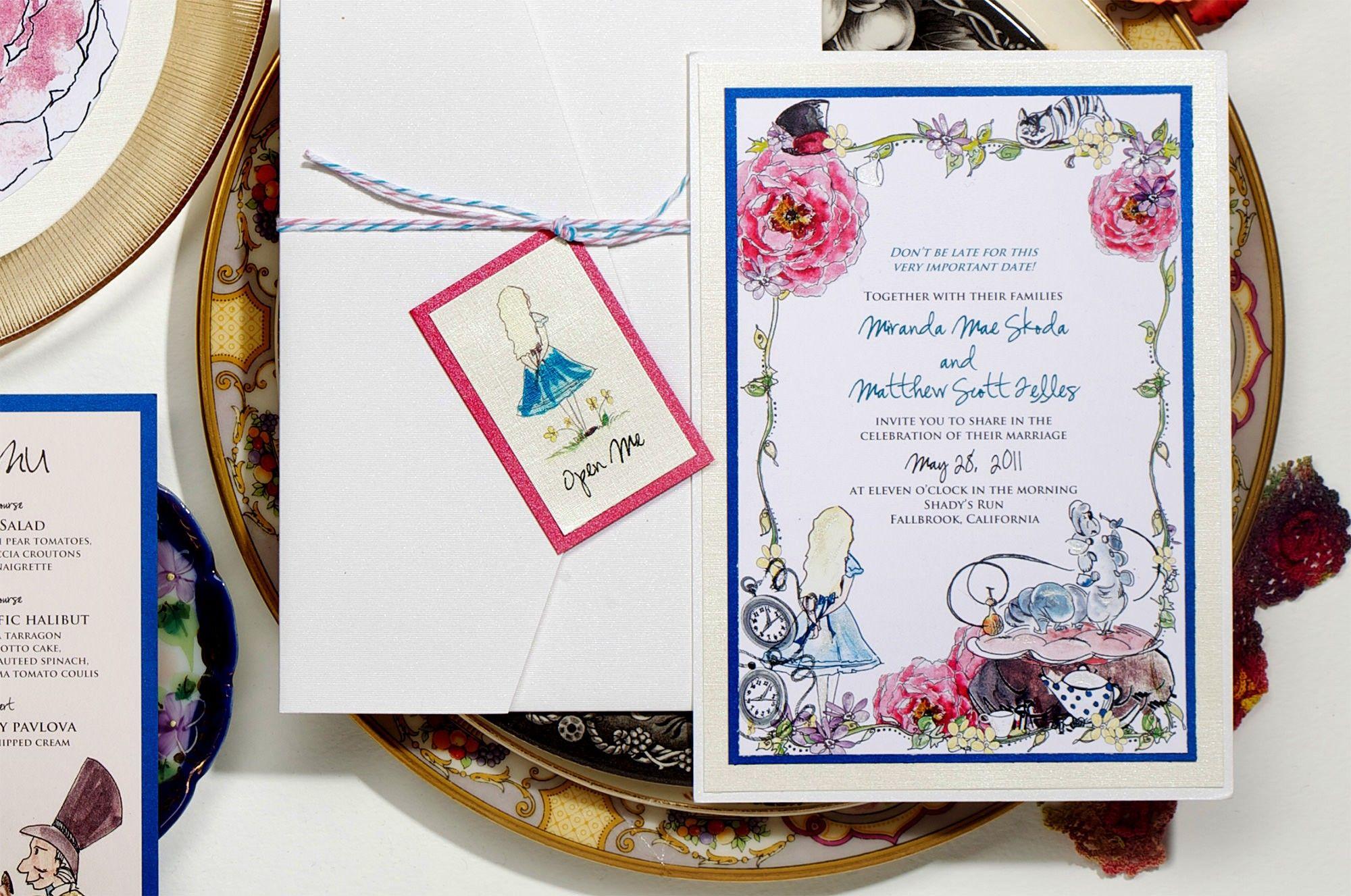 next day wedding invitations%0A Alice in Wonderland Wedding Invitations