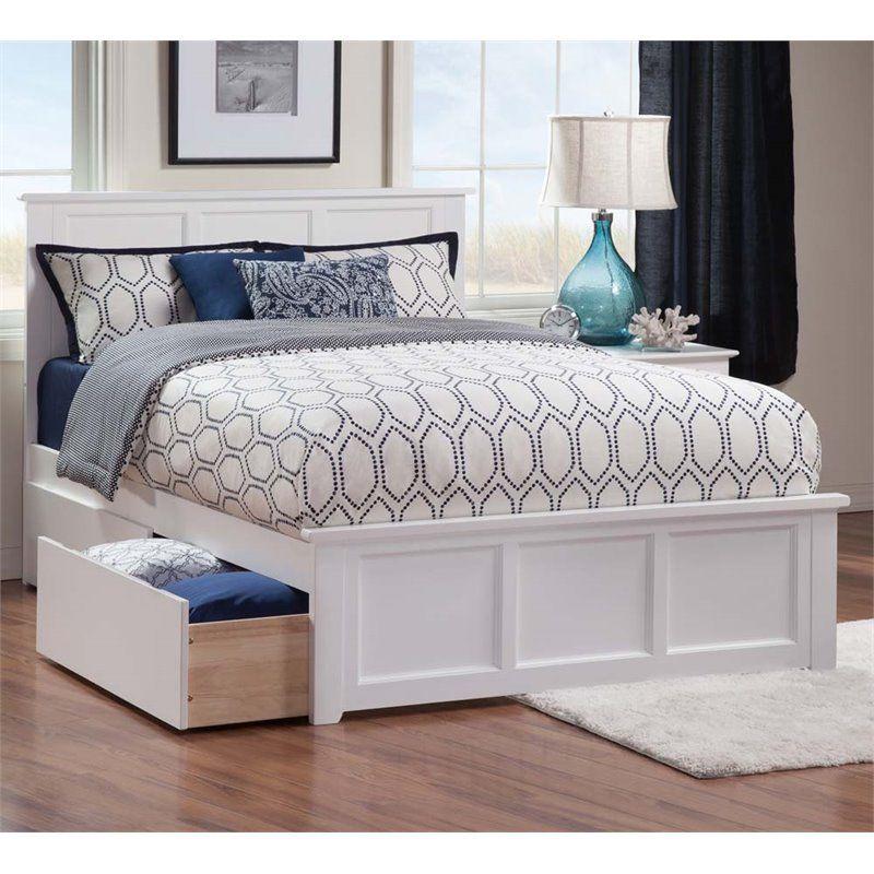 Atlantic Furniture Madison Urban Full Storage Platform Bed in White #coastalbedrooms