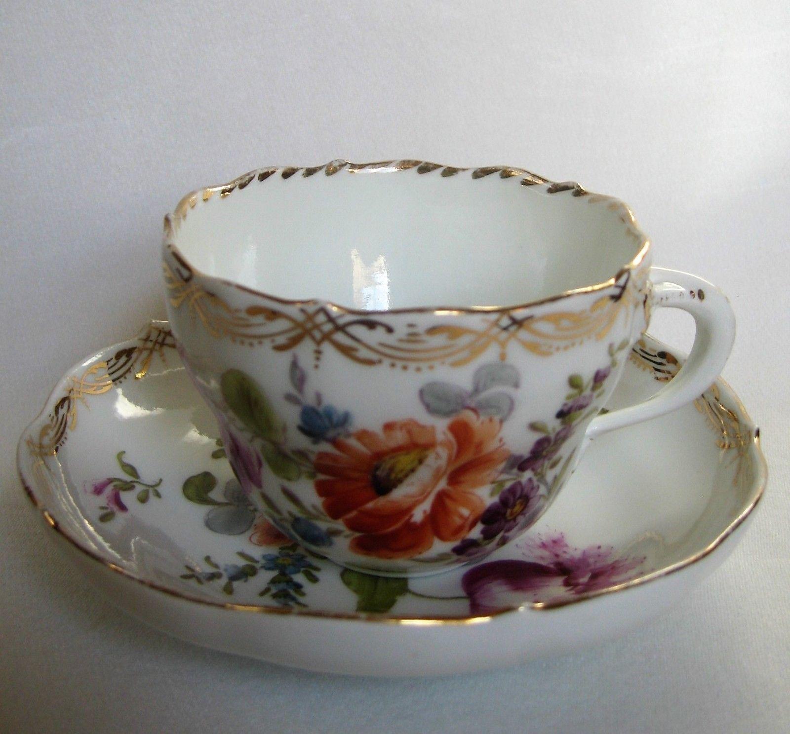 Antique Meissen Porcelain Hand Painted Demitasse Cups