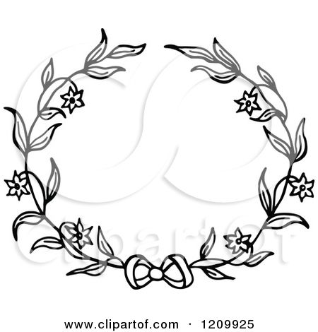 Clipart Of A Black And White Flower Wreath With A Bow Royalty Free Vector Illustration By Prawny Free Vector Illustration Vector Free Clip Art Pictures