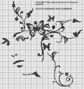 Grille gratuite point de croix visage femme et papillons - Broderie traditionnelle grille gratuite ...