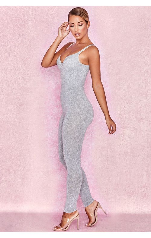 Clothing : Jumpsuits : 'Kalani' Grey Soft Loungewear Jumpsuit