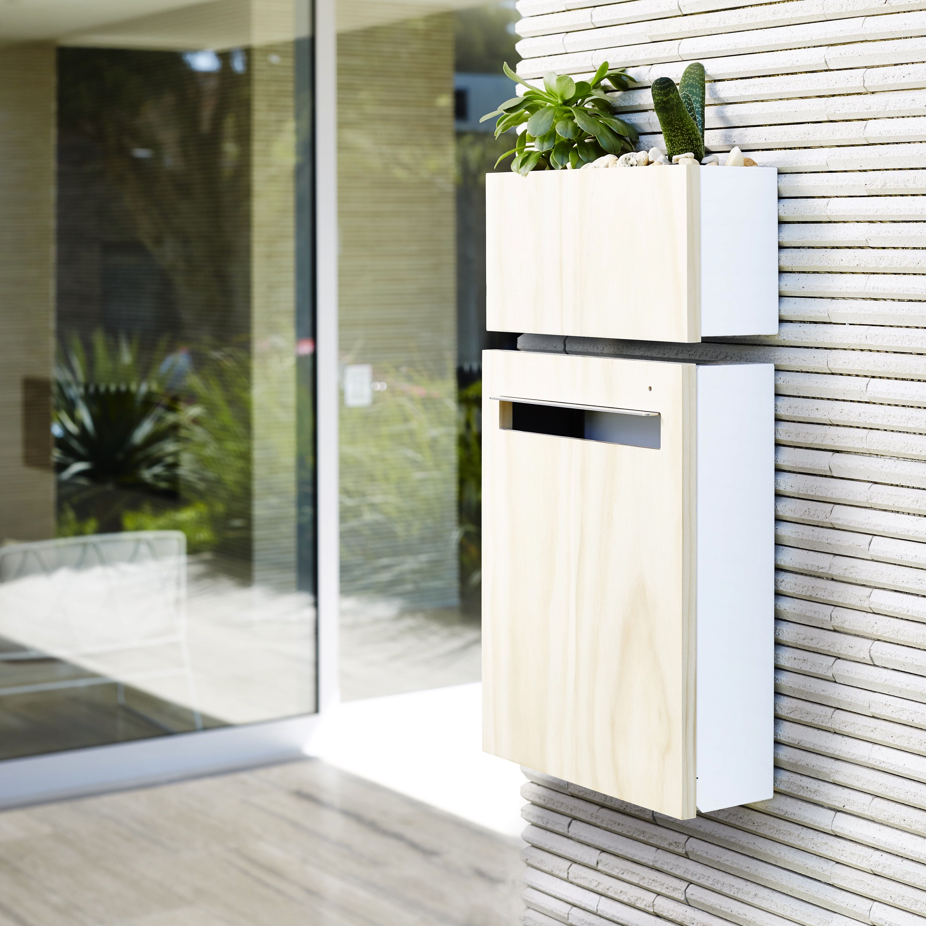 Javi Wall Mount Letterbox with Javi Wall Planter in white