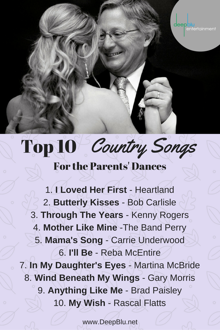 Top 10 Country Songs For The Parents Dances Country Wedding Songs Wedding Ceremony Songs Wedding Songs
