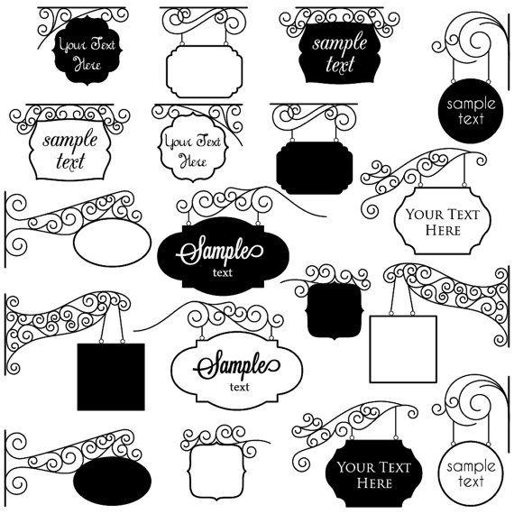 Vintage Signs Clipart Clip Art Marcos Clipart Clip Art Uso Comercial Y Personal Letreros Para Negocios Letreros De Tiendas Carteles Para Negocios