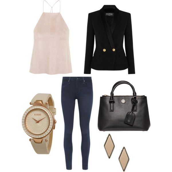 Casual Day Out by sharnapelling on Polyvore featuring Rare London, Balmain, AG Adriano Goldschmied, Tory Burch, Versus and Gogo Philip