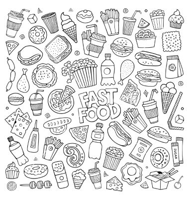 Fast Food Doodles Hand Drawn Symbols Vector Black White