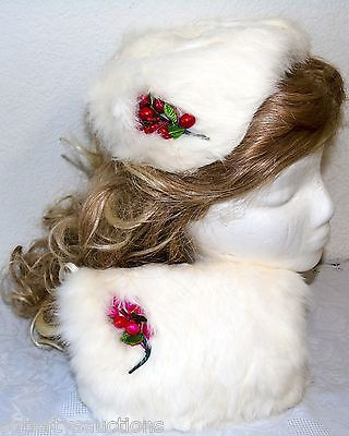 Vintage Girls Satin Berries and Buds Rabbit Fur Band Hat n Hand Muff Warmer Set