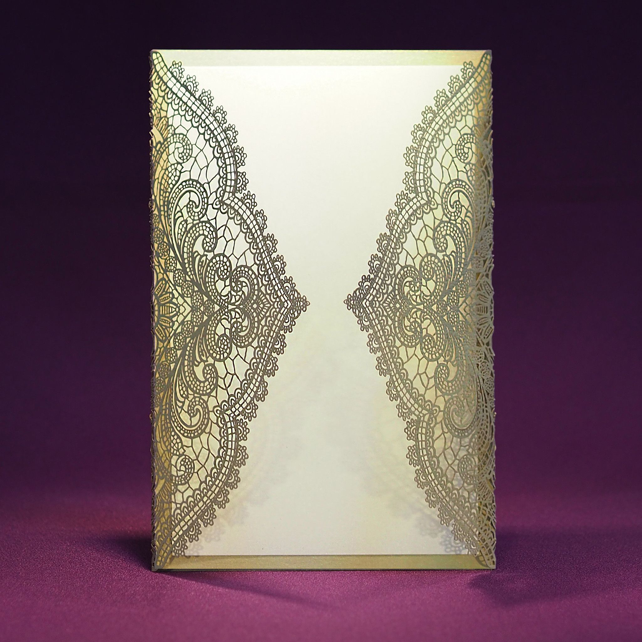 laser cut wedding invites canada%0A Laser Cut Wedding Invite  Chantilly Lace  Blank from Paper Orchid