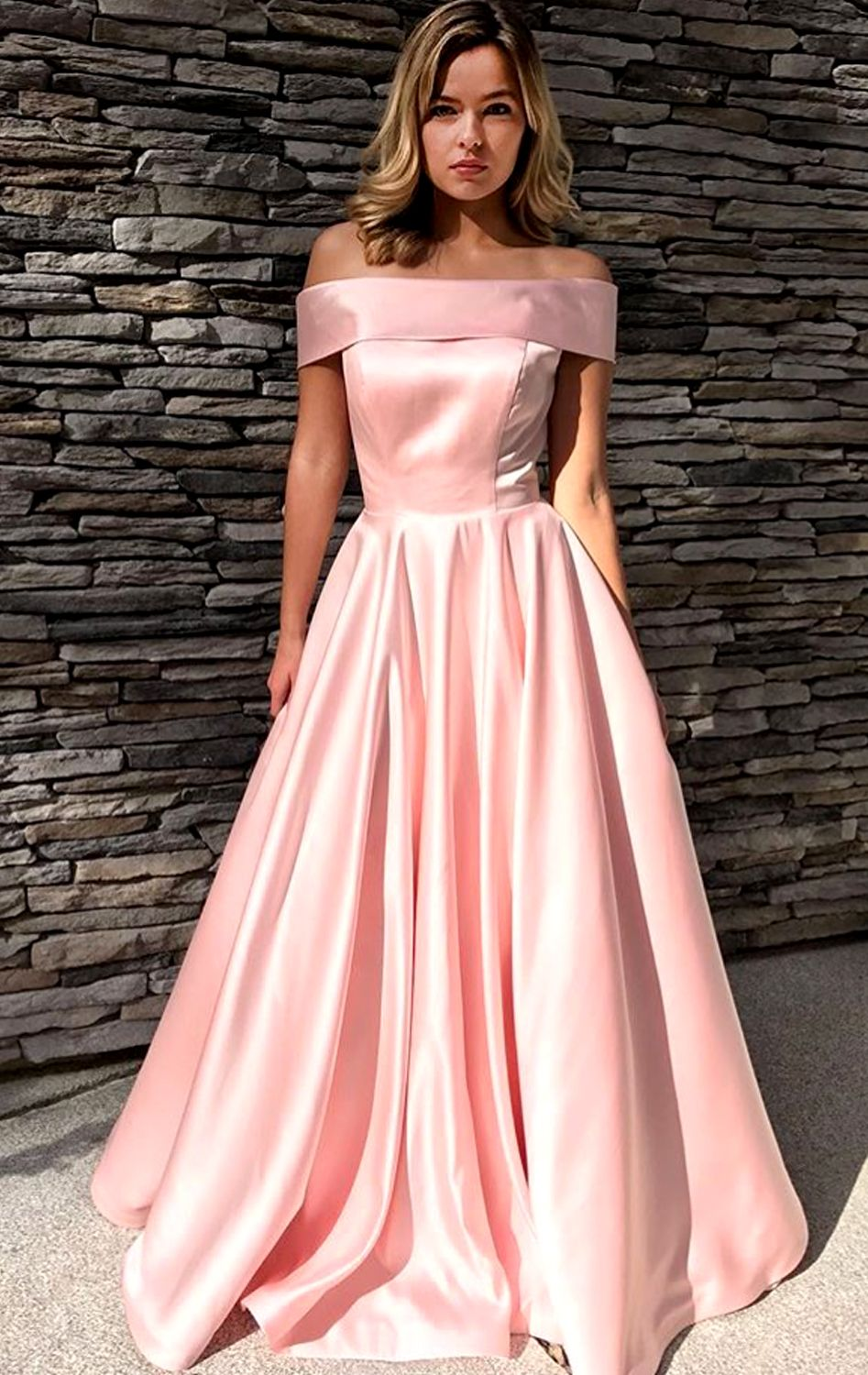 fbdedd44388e Gorgeous Off the Shoulder Yellow Long Prom Dress Elegant Formal Evening  Gown Blush Pink Prom Gown