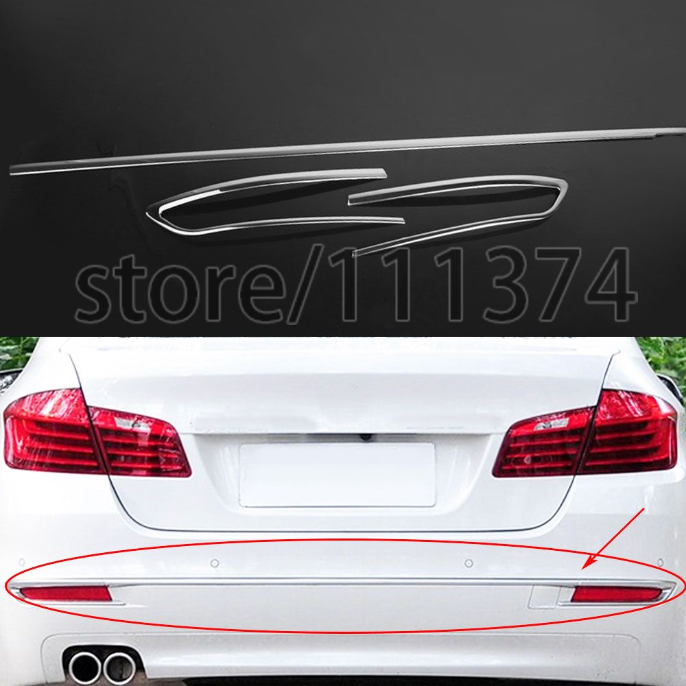 Rear Bumper Trim Frame Cover Decoration For Bmw 5 Series F10 F11 520i 525i 530i Chrome Sticker Car Styling Lhd Abs 3pcs Set Replacement Parts Sports Car Car