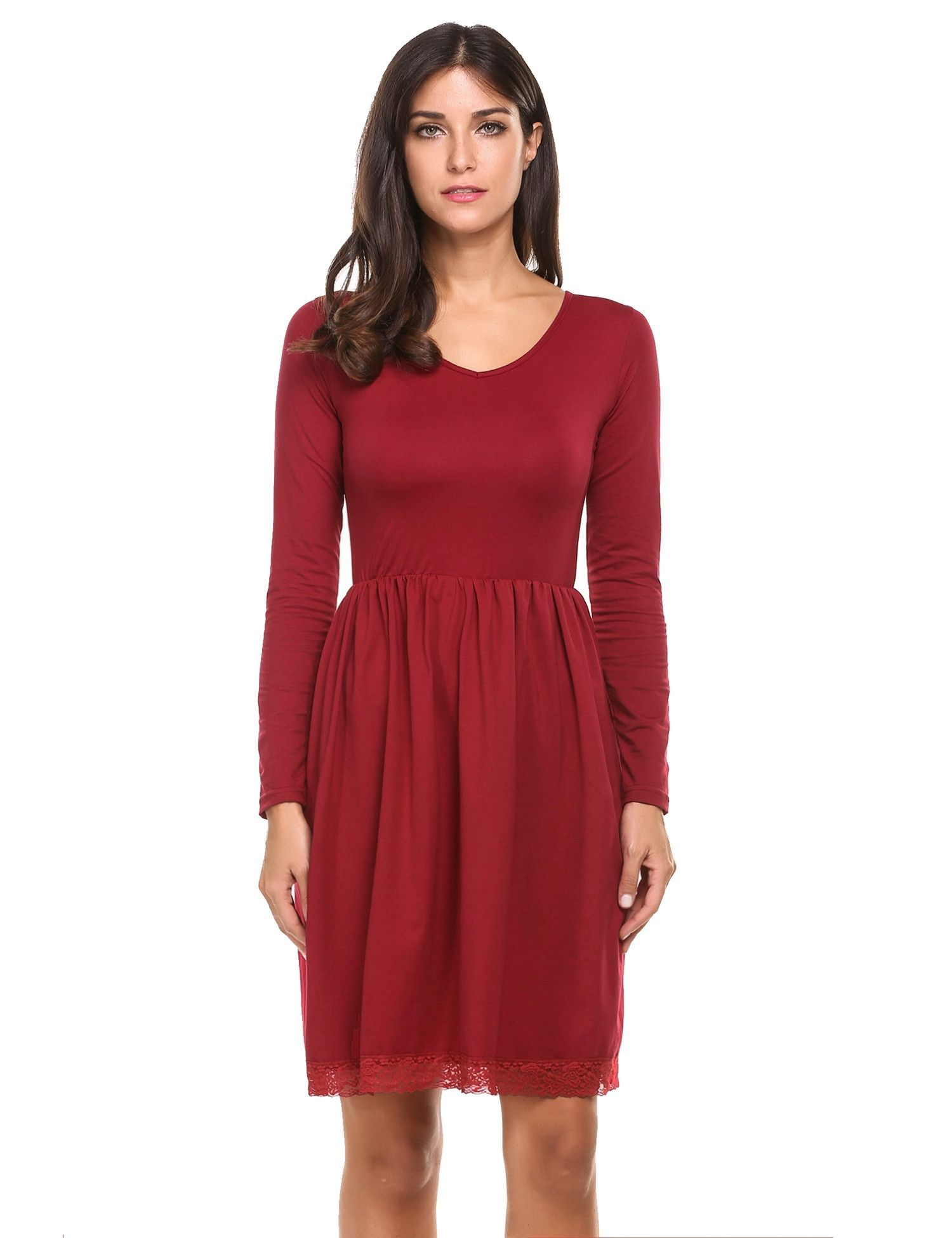 Red V Neck Long Sleeve Lace Trim Solid Casual Dress